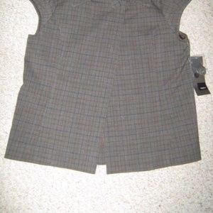 Mossimo Supply Co. Jackets & Coats - Gray Brown Blue Plaid Cap Sleeve Vest Blazer Top S